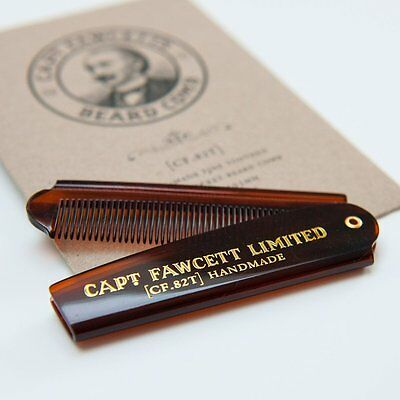 Captain Fawcett's Folding Pocket Beard Comb - CF.82T - Made in England