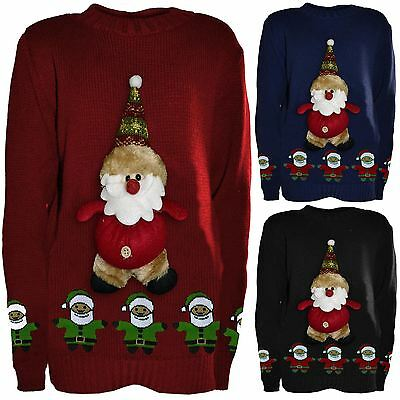 New Boys Girls Kids Novelty Christmas Jumpers Knitted 3d Teddy Santa 5-10 Years