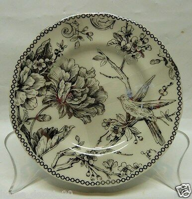 222 FIFTH ADELAIDE SILVER ~ SET OF 4  PLATES Dessert Appetizer Bread TOILE BIRD