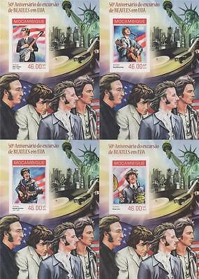 50th ANNIVERSARY OF THE BEATLES TRIP TO USA 2014 IMPERF MNH STAMP SHEETLETS x4