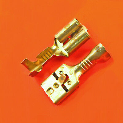 Quality 6.35mm Female Brass Spade Crimp Terminals With Tag - Lucar Uninsulated