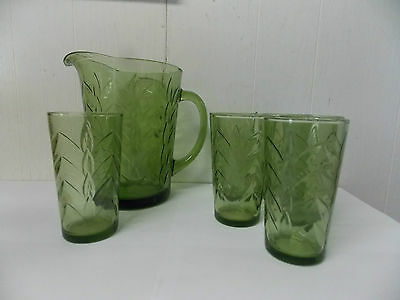 Hazel Ware Avocado Royal Palm Pitcher & Glass Beverate Set 7 Pc NEW/ Old Stock