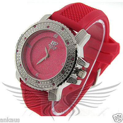 Ladies Iced Out Crystal Accented Stylish Hip Hop Wristwatch by Black Fire WL105