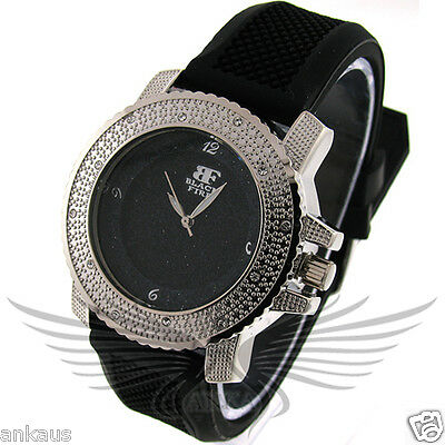 Ladies Iced Out Crystal Accented Stylish Hip Hop Wristwatch by Black Fire WL108