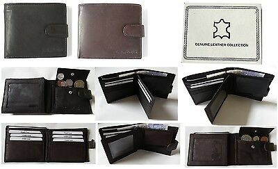 Mens High Quality Luxury Leather Bifold Wallet Credit Card, Coin & Zipped Pocket