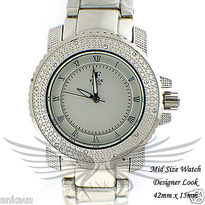 Unisex Iced Out Crystal Accented Stylish Hip Hop Wristwatch by Black Fire WML320