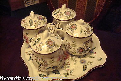 """Andrea by Sadek four covered cups on a tray """"Buckingham"""" pattern[4-45]"""