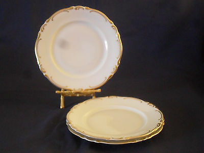 Heinrich China H&C Fanny Elssler  Dinner Plate White Thick Gold Set of 3