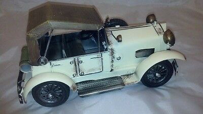 Large Antique Metal Model White 1920s Rolls Royce Car Auto Automobile 9.5 Inches