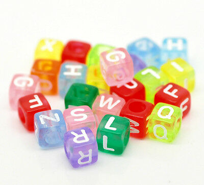 1000 Mixed Alphabet/Letter Acrylic Cube Beads  6x6mm