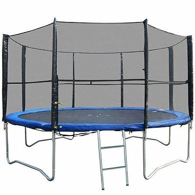 New 12Ft Replacement 8 Pole Trampoline Safety Net Enclosure Surround Outdoor