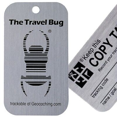 Genuine Groundspeak Original Travel Bug Geocaching Trackable Tag plus Copy Tag