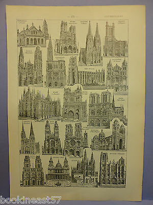 Ancienne Planche Illustree 1923 : Cathedrales