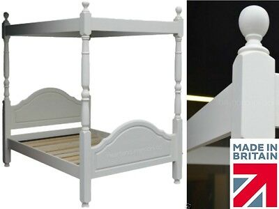 White Painted Bed Frame, Solid Wood Four Poster Bed, Double✔ King✔ Super King✔