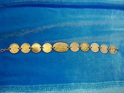 Antique Artisan Crafted 1900-30's English 3 Pence Coin Bracelet