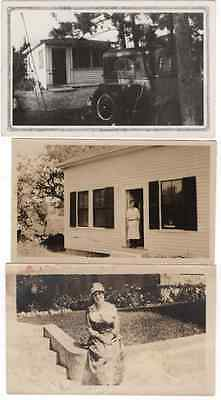 VINTAGE PHOTO -lot LADY AT  THE DOOR-LADY 1918- LOS ANGELES- OLD CAR