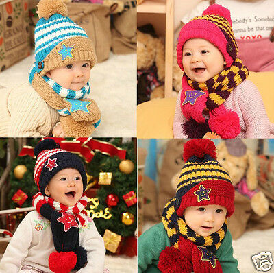 Winter Girls Boys Baby Toddler Cap Child Kids Hat Scarf Set Five-Pointed Star