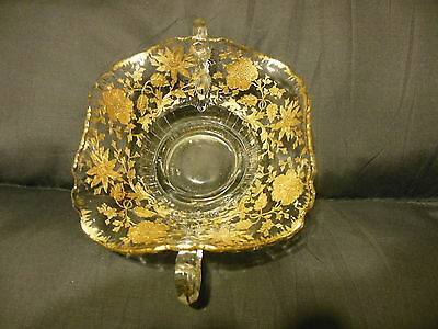 Vintage Candy Dish Handled Bowl Gold Embossed American Gorgeous Ruffled Edge