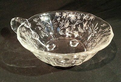 ThriftCHI ~ Chintz Baroque 3 Footed Bowl by Fostoria w Handle - Excellent Cond.