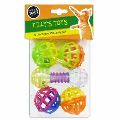 New Tilly's Toys 5 PIECES ASSORTED PLAY SET CAT & KITTEN TOY TEASER