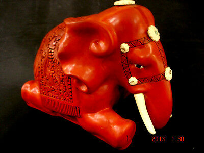 "10 1/2"" W Chinese Early Republic Lacquer Wood Cinnabar Elephant"