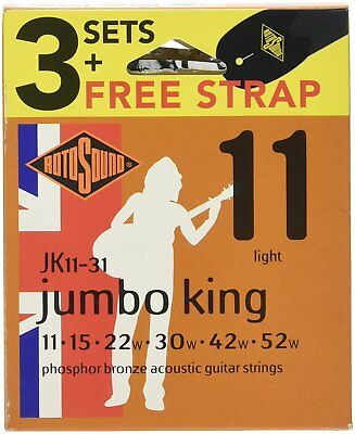 Rotosound JK11 Phosphor Bronze Acoustic Guitar Strings x3 Sets & Strap JK11-31