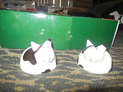 New In Box  Villeroy & Boch Cat Salt & Pepper Shakers black & white w silver ear