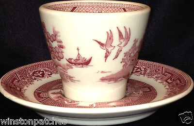 SHENANGO CHINA RESTAURANTWARE RED PINK WILLOW SINGLE EGG CUP & SAUCER 2 1/2""