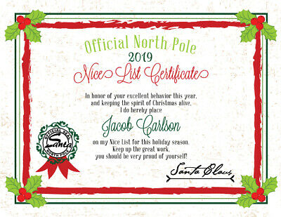 2018 Christmas Letter From Santa Nice List Certificate - PDF file you print!
