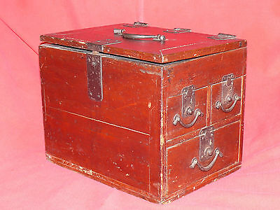 1615-1868 Japanese EDO Period TANSO CALLIGRAPHER's DESK CHEST w Lid & 3 Drawers