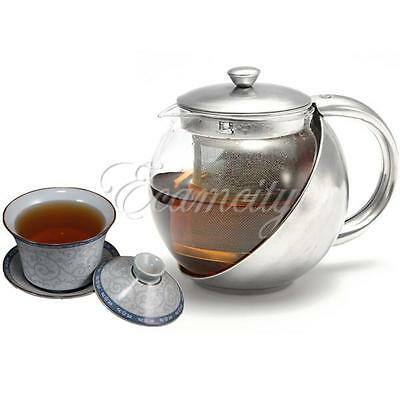 Stainless Steel Glass Tea Pot TeaPot With Loose Tea Leaf Infuser Strainer 500ml