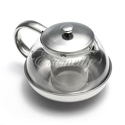 Stainless Steel Glass Tea Pot TeaPot With Loose Tea Leaf Infuser Strainer 800ml