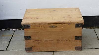 Small  pine blanket box/chest, metal banding,  robust,  re furbished