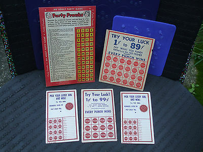 5 VINTAGE UNUSED GAMBLING PUNCH CARDS punchboard  punch board