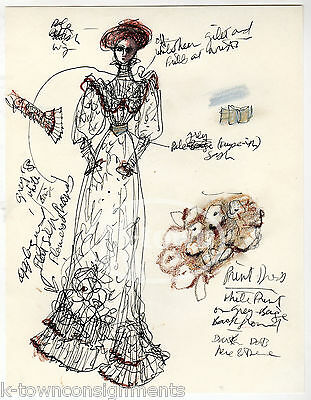 Victorian Dress Stage Actress's Vintage Theatre Play Costume Design Sketch