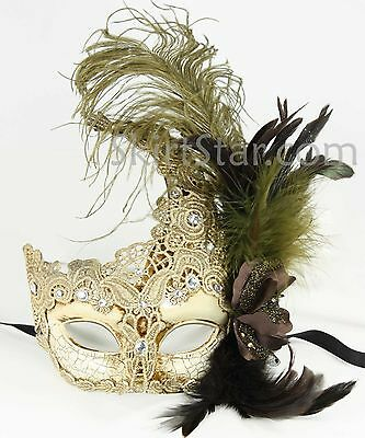 Venetian Mask Crystals Cream Masquerade Ball Fancy Dress Costume Feather Prom