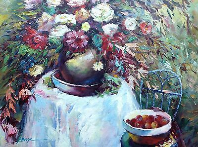 """Flowers Vase Floral Still Life Cherries Art Hand Painted 20""""x 24"""" Oil Painting"""