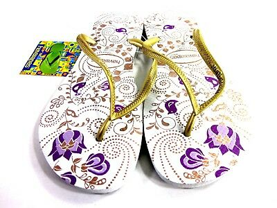 315f0578cd495 Havaianas Women s Slim Season Flip Flop Sandals White gold Brazil Size  41-42 Med