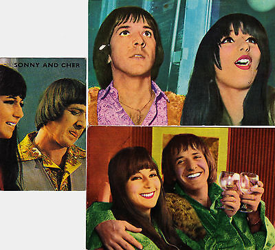 3 1960's European SONNY & CHER BONO Rock/Pop Star Cards/Stickers