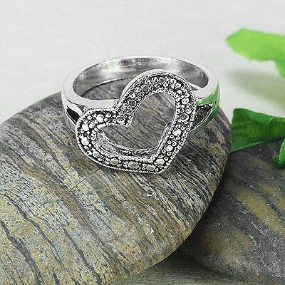 Plain Solid .925 Sterling Oxidized Silver Heart Ring (sr155)