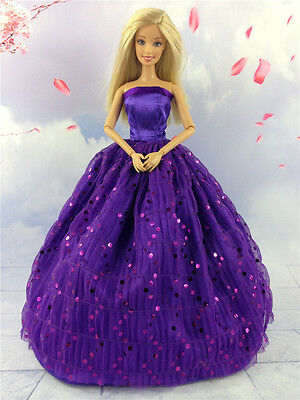 Purple Fashion Princess Party Sequin Dress Clothes/Gown For Barbie Doll y10