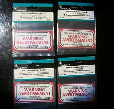 4 Packs  Warning Avertissement  Security Sticker decal  French & English Quebec