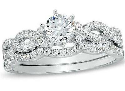 Women's 1.50 Ct Round Cut Cz Infinity Wedding Ring Set 925 Sterling Silver