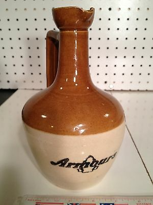 """Vintage Armours Crock/Jug Stoneware 8"""" Cream & Brown with Good Handle & Spout"""