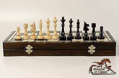 EXCLUSIVE ''CHESS CLUB'' WOODEN CHESS SET 48x48!!! STUNNING HAND CRAFTED EDITION