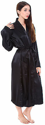 Cozy Women's Men Satin Silk Spa Robe Bathing Robe Suits Sleepwear Night Gown