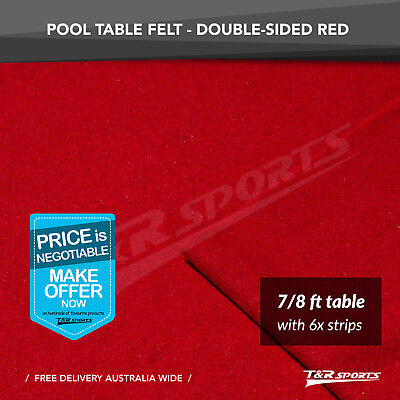 "Red Double-sided Wool Pool Snooker Table Cloth + 6x Felt Strips for 7""/ 8"""