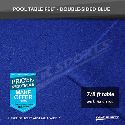 "Blue Double-sided Wool Pool Snooker Table Cloth + 6x Felt Strips for 7"" / 8"""