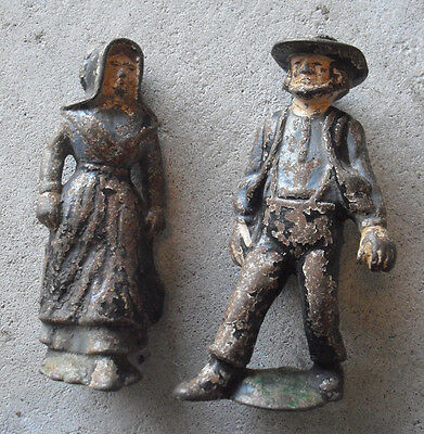 "Lot of 2 Antique 1920s Cast Iron Amish Man and Woman Figurines 5"" Tall"