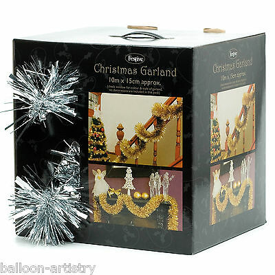 10m Luxury Festive Christmas Party SILVER Sparkling Tinsel Garland Decoration
